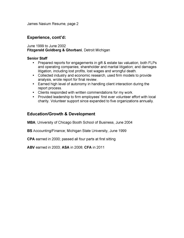 bullet point resume example page two borrowman baker llc